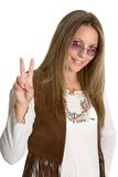 Hippie Peace Sign. Beautiful hippie giving peace sign stock photo