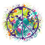 Hippie peace symbol on earth globe background with splashes in watercolor style. Design concept for banner, card, scrap booking, t-shirt, bag, print, poster Stock Photo