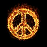 Hippie Peace Symbol by fire Stock Images