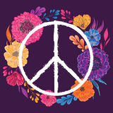 Hippie peace symbol with flowers, leaves and buds. Collection decorative floral design elements. Stock Images
