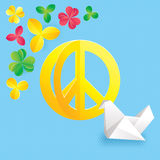 Hippie peace symbol with flowers and origami Stock Image