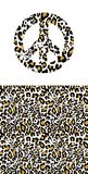 Hippie peace symbol with leopard print. Fashion design for t-shirt, bag, poster, scrapbook. Textile stock illustration