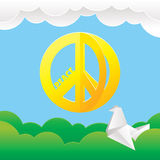 Hippie peace symbol with nature background Royalty Free Stock Photo
