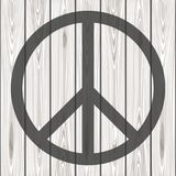 Hippie Peace Symbol. Peace Symbol on a wooden background. Vector illustration Royalty Free Stock Photography