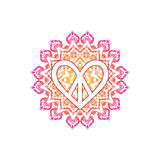 Hippie peace symbol in shape of heart over ornate mandala vector illustration
