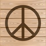 Hippie Peace Symbol. Peace Symbol on a wooden background. Vector illustration Royalty Free Stock Image