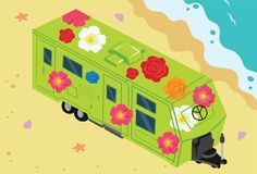 Hippie Peace Train at Beach Vector Illustration. For many purpose such as game icon, book, website and blog illustration, etc. EPS 10 file format Stock Illustration