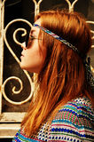Hippie peaceful girl in sunglasses, profile Stock Images