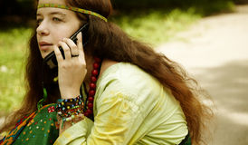 Hippie on the phone Stock Image