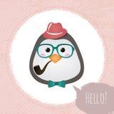 Hippie-Pinguin Texturfelddesignillustration Stockfotos