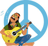Hippie playing guitar. Man dressed in 1960s hippy fashion playing guitar and singing sitting in front of a peace sign, EPS 8 vector illustration Stock Photography