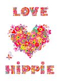 Hippie print with heart shape, abstract colorful flowers, mushrooms and rainbow Royalty Free Stock Photo