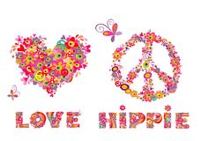 Hippie print with heart shape, abstract colorful flowers, peace symbol, mushrooms and rainbow Royalty Free Stock Photography