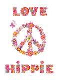 Hippie print with peace symbol, abstract colorful flowers, mushrooms and rainbow Royalty Free Stock Photography