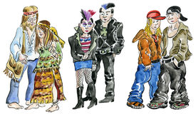 Hippie, punk and rock teens. Set of hippie, punk and rock teens characters Stock Image