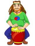 Hippie que joga os bongos Fotografia de Stock Royalty Free