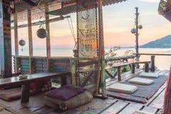 Hippie restaurant at sunset. Esco bar at Sunset beach, Haad Rin, Koh Pangan, Thailand, May 03, 2016 Royalty Free Stock Photo
