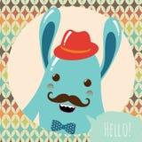 Hippie-Retro- Monster-Karten-Design Stockfotografie