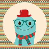 Hippie-Retro- Monster-Karten-Design Lizenzfreies Stockbild