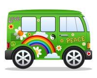 Hippie retro Van dos desenhos animados Imagem de Stock