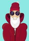 Hippie Santa Claus à la mode avec les lunettes de soleil élégantes de barbe et de hanche Photos stock