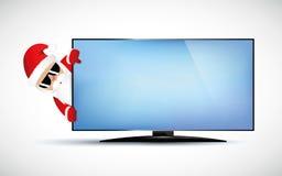 Hippie Santa Claus mit kühlem Bart und Sonnenbrille hinter Fernsehen lizenzfreie abbildung