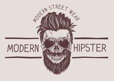 Hippie-Schädel mit Frisur, dem Schnurrbart und Bart lizenzfreie abbildung