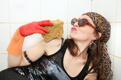 Hippie sponge lover Royalty Free Stock Photography