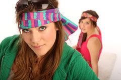 Hippie-Style. Two brunette girls in hippie-style Stock Image