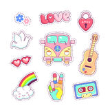 Hippie style badges patches and stickers Royalty Free Stock Images