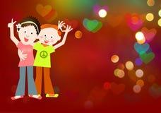 Hippie style: love, peace sign couple. Hippie style postcard: love, peace sign couple Stock Photo