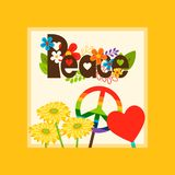 Hippie style peace symbol card. Bright vector card template with hippie style peace and peace symbols royalty free illustration