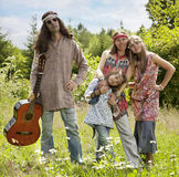 Hippie styled family outdoors Stock Images