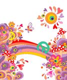 Hippie summery background with abstract colorful flowers, mushrooms, peace symbol and rainbow Stock Photo