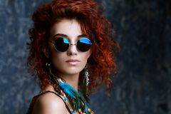 Hippie in sunglasses Royalty Free Stock Photography