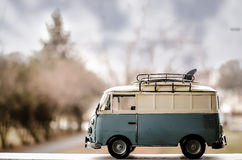Hippie Surfer Bus. A hippie/surfer bus with surf boards on top royalty free stock photos