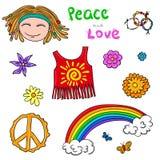 Hippie symbols elements. Flower children collection. Stock Photos
