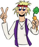 Hippie takes on healthy food. A hippie shows the way to organic healthy food Royalty Free Stock Images
