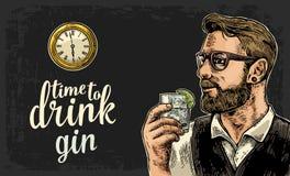 Hippie tenant un verre de montre de genièvre et de poche d'antiquité illustration libre de droits