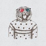 Hippie-Tiger gekleidet in der Bluse lizenzfreie abbildung