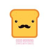 Hippie-Toastbrot lustige Zeichentrickfilm-Figur mit dem Schnurrbart Stockfotografie