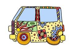 Hippie uitstekende auto een minibestelwagen Stock Afbeeldingen