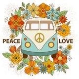 Hippie uitstekende auto een minibestelwagen Sier achtergrond Stock Afbeeldingen