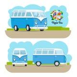 Hippie uitstekende minibestelwagen Stock Afbeelding