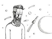 Hippie und Raum stockbild