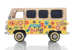 Hippie Van. An old vintage hippie peace and love van over a white background Stock Photo