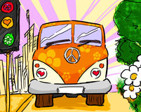 Hippie van. A colorful hippie van drives away from the city Royalty Free Stock Image