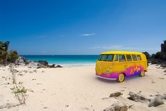 Hippie van on the beach. 3D rendering of a hippie van on a tropical beach Royalty Free Stock Photos