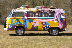 Hippie van. On a campsite with atrezzo Royalty Free Stock Photos