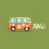 Hippie van cartoon illustration Stock Image